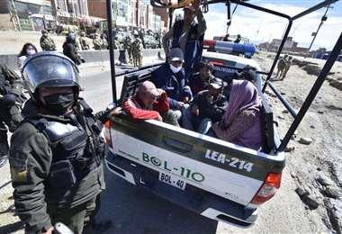 los detenidos que fueron llevados a La Paz por seguridad (Foto: APG noticias)