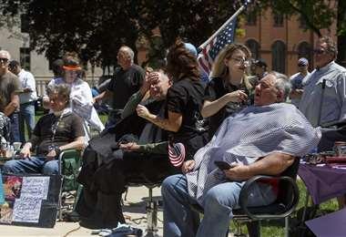 Inusual protesta en Michigan. Foto AFP
