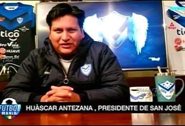 Huáscar Antezana, presidente del club  San José de Oruro. Foto: internet