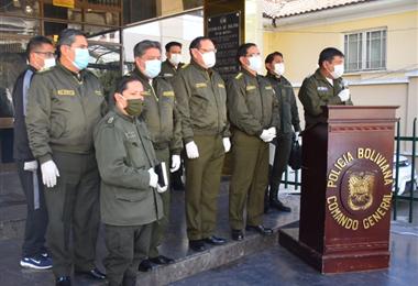 El anuncio de las donaciones la realizó el comandante general de la Policía, Rodolfo Montero. Foto. APG