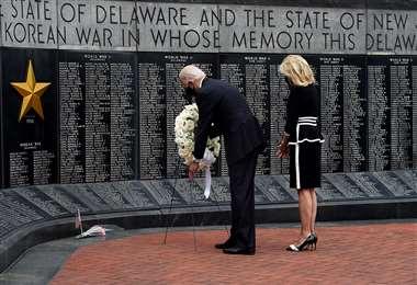 Biden en el homenaje a los caídos en guerra. Foto AFP
