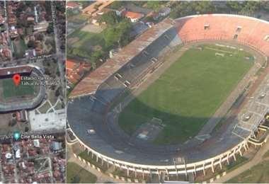 Vista aérea del estadio Ramón 'Tahuichi' Aguilera. Foto: internet