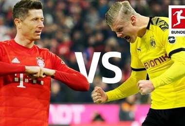 Lewandowski y Haaland serán protagonistas del clásico alemán de esta tarde. Foto: internet