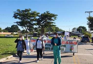 Trabajadores durante la marcha /Foto: Trabajadores de Salud