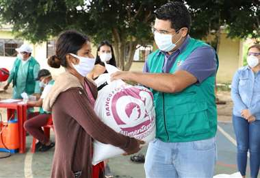 La bolsa del Banco de Alimento Solidario. Foto: Gobernación