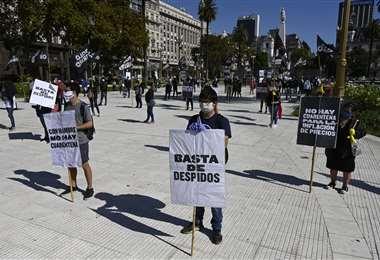 Protesta contra la cuarentena en el centro de Buenos Aires. Foto AFP