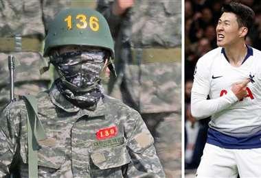 A la izquierda, Son Heung-Min con el uniforme del servicio militar, y a la derecha, con la casaca del Tottenham Foto: Internet