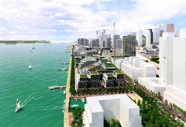 Maqueta del barrio futurista a orillas del lago Ontario. Foto Internet