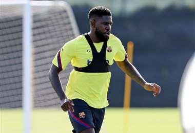 La imagen de Umtiti en el primer día de entrenamientos del Barcelona, que ocurrió el viernes. Foto: AFP