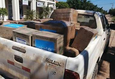El material que llegó a Beni I UNICEF.
