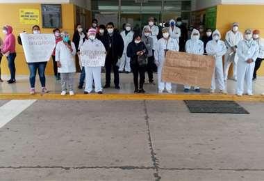El personal durante la protesta /Foto: Trabajadores de salud