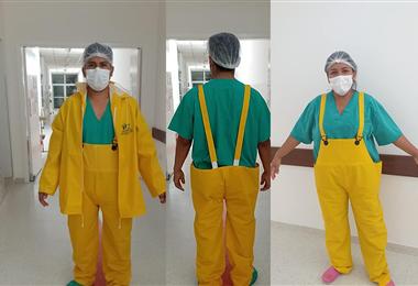 Los primeros en recibir los trajes fue el personal de quirófano. Foto. Tomada del Facebook de Ana Gabriela Zambrano