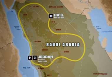 El recorrido del Rally Dakar 2021 sobre un mapa de Arabia Saudí, en una imagen tomada el 10 de junio de 2020 en París.Foto:AFP