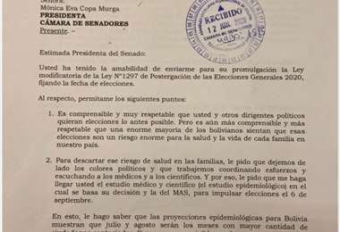a carta que la presidenta envió a la presidenta del Senado