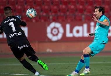 El remate de Messi, que terminó este sábado en el cuarto gol de Barcelona sobre Mallorca. Foto: internet