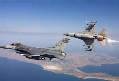Cazas F-16 de la aviación turca. Foto Internet