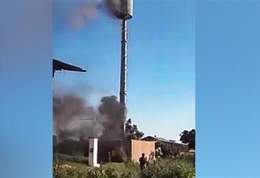 Antenas de telecomunicaciones fueron dañadas en Yapacaní el lunes.
