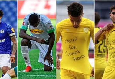 Algunos de los futbolistas que decidieron rendir un homenaje a George Floyd. Foto: Internet
