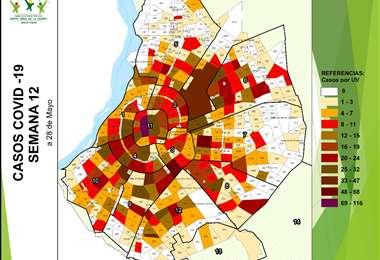 Mapa de los barrios infectados de la capital cruceña