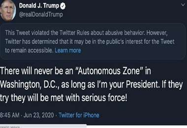 El tuit censurado del mandatario de EEUU. Foto Internet