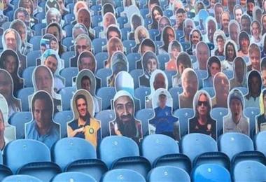 Esta fue la imagen de Bin Laden que apareció en el estadio