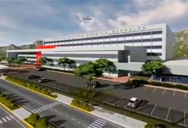 Maqueta de lo que será el nuevo hospital Sergio Bernales en Lima. Foto Internet