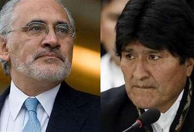 Carlos Mesa y Evo Morales en La Haya
