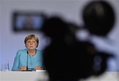 La intervención de Angela Merkel. Foto AFP