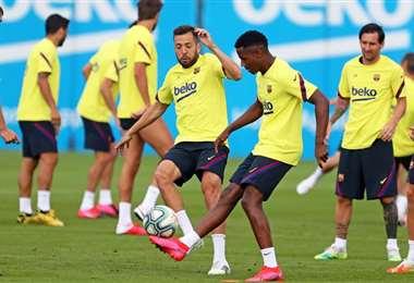 Un entrenamiento del equipo azulgrana, que se aista para la reanudación del campeonato. Foto: internet