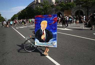Trump, personaje central en las protestas. Foto AFP
