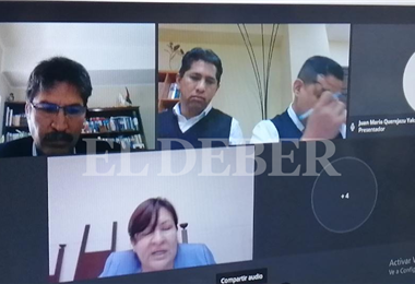 La audiencia de Leyes y sus colaboradores se cumple vía internet. Foto. Humberto Aillón