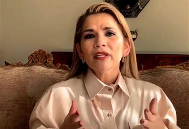 Jeanine Áñez, presidenta de Bolivia. Foto. Captura de pantalla