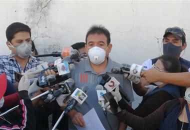 Yuri Lazarte, representante del Sindicato de Ramas Médicas de Salud Pública en Cochabamba. Foto. Humberto Aillón