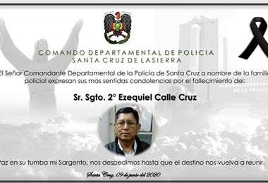 El sargento Calle estaba asignado a la penitenciaría de Palmasola (Foto: Frecuencia Policial)