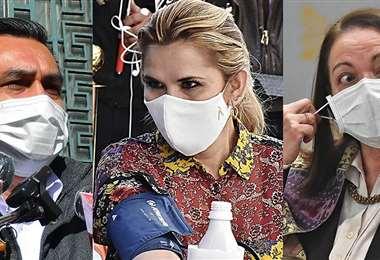 Las autoridades Yerko Núñez, Jeanine Áñez y Eidy Roca