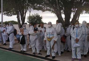 Las brigadas antes de partir a realizar su recorrido (Foto: Alcaldía))