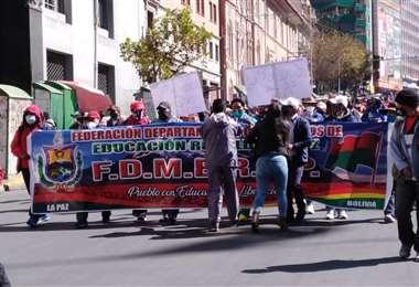 Una de las marchas realizadas en La Paz en anteriores días.