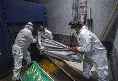 Empleados colocan el cuerpo de un fallecido por Covid en un crematorio de la Ciudad de México. Foto AFP