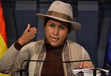 La exministra de comunicación, hoy vocera del MAS, Marianela Paco.