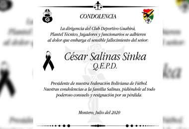 Condolencias de Guabirá