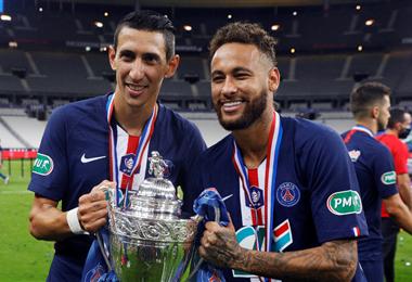 Di María (izq.) y Neymar, campeones en Francia