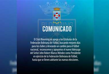 Comunicado de Blooming