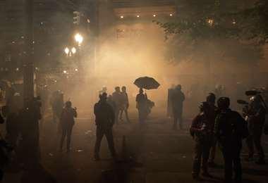 Los manifestantes fueron gasificados. Foto AFP
