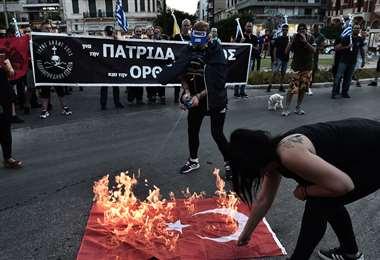 Manifestación contra Turquía en Tesalónica. Foto AFP