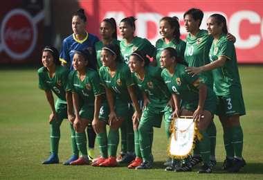 Morón, Zamorano, Cruz y Pedraza en su última convocatoria a la selección boliviana en 2019. Foto: Mujeres Fútbol Club
