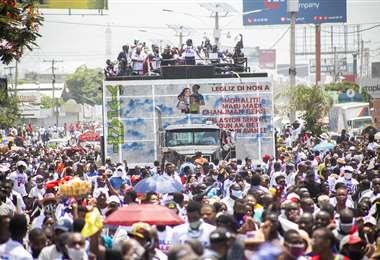 La protesta de los fieles de las iglesias en Haití. Foto AFP