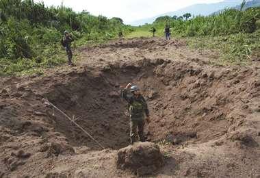 Pista destruida en la selva peruana. Foto Internet