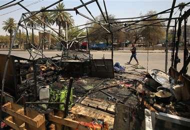 Destrozos causados por los manifestantes en Bagdad. Foto AFP