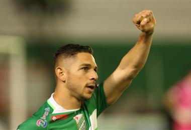 José Alí Meza celebra uno de los goles que marcó en Oriente