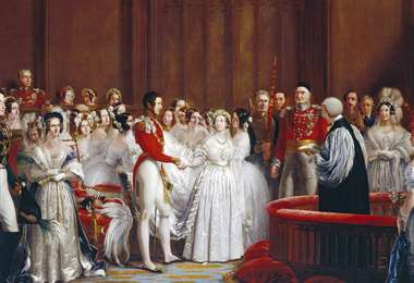 Pintura que recrea el matrimonio de la reina Victoria del Reino Unido con el príncipe Alberto
